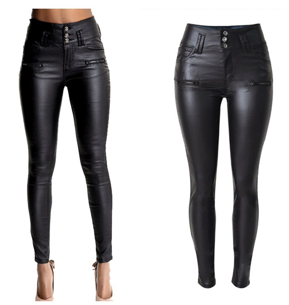 lexiart PU Leather Pants For Women Sexy Tight Stretchy Rider Leggings Black 2