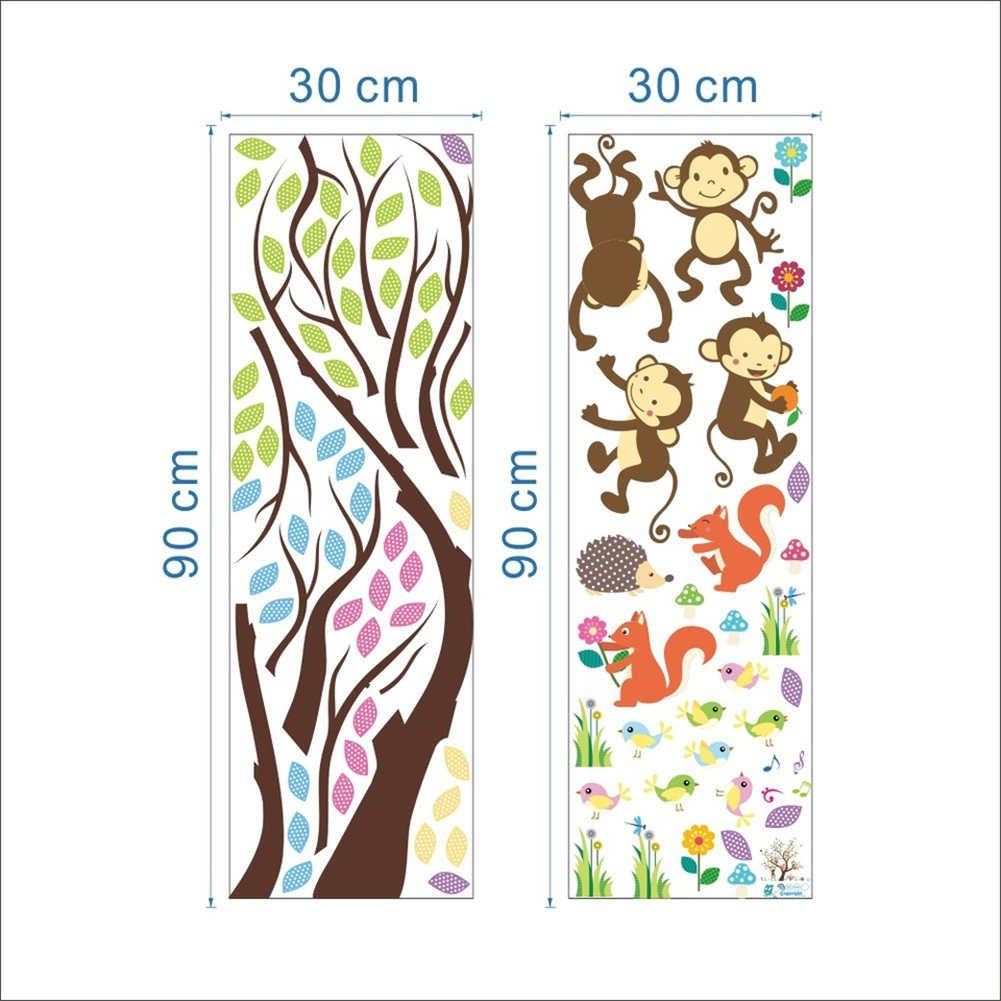 BIBITIME Forest Animal Wall Sticker 4 Monkeys Playing on the Beautiful Leaves Tree Branch Flower Squirrel Hedgehog Vinyl Decal for Nursery Bedroom Kids Room DIY 43.31 x 35.43