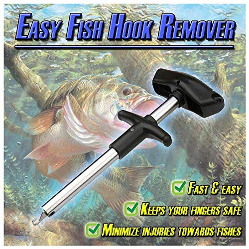 Beautly Easy Fish Hook Remover, 2019 New Squeeze-Out Fish Hook Separator Tools, Portable Easy Reach Aluminum Fishing Hooks Extractor, Fast Decoupling, No Injury (Sliver) ()
