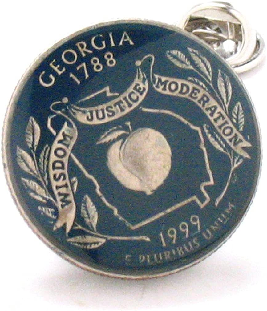 Georgia Quarter Tie Tack Lapel Pin Suit Flag State Coin Jewelry USA US United States Police Atlanta Savannah South Dixie Southern Peach
