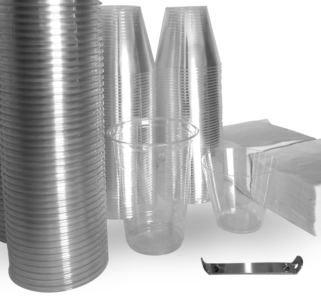 Clear Plastic Cups Bundle - 16 oz. Crystal Clear PET Cups (100) | 9 oz. Tumbler (100) Cocktail Napkins (250) 1 Church Key Bottle Opener