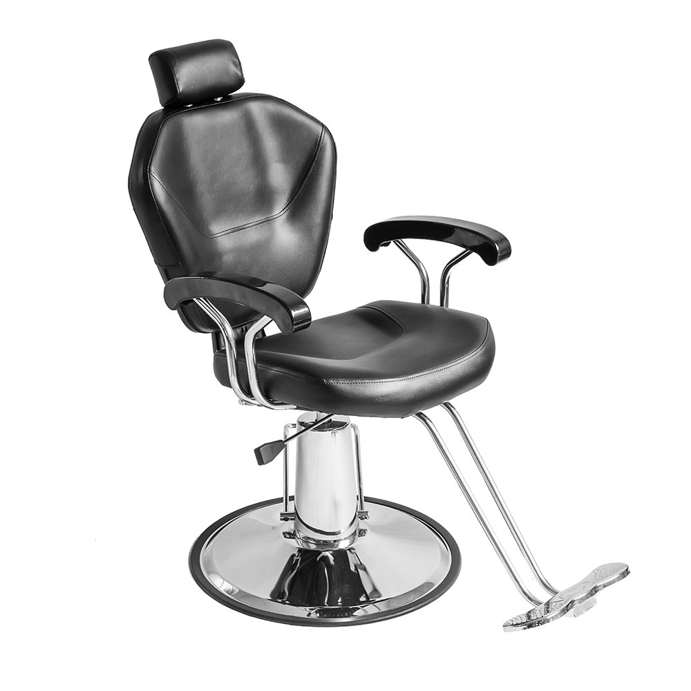 Salon Chair Beauty Hydraulic Barber Chair Reclining Recliner Adjustable Hairdressing Chair for Spa Shaving Tattoo Haircut Styling Equipment Black Wellgarden