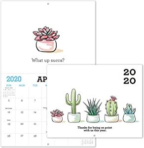 "Gag Gifts - 2020 Calendar for Funny White Elephant Gag Gift Exchange, Large 11"" x 17"" When Open, Joke Present with Beautiful Photos of Cactus for Adults, Sturdy Paper"