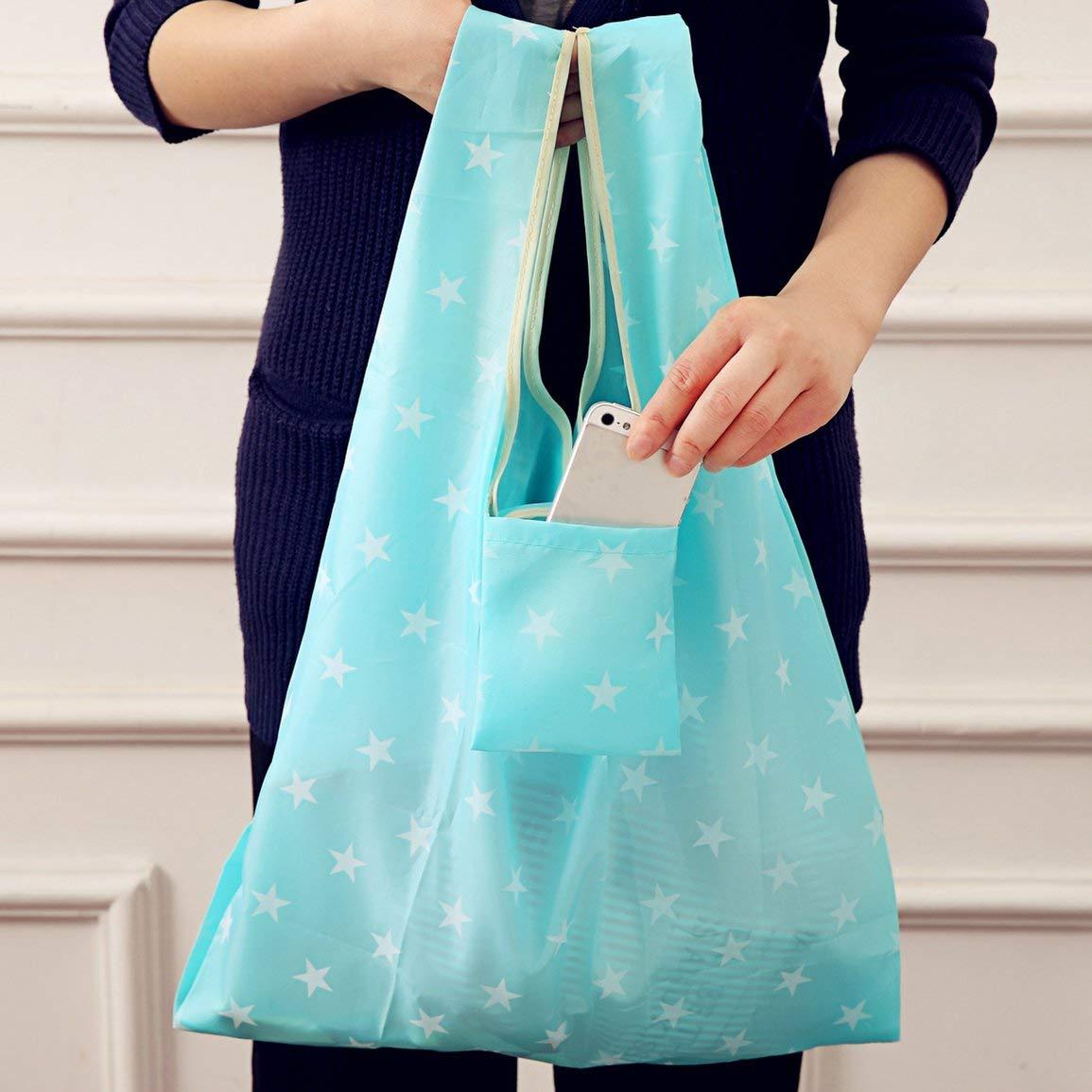 Garciasia Bolsas de la compra plegables de tela de Oxford del dise/ño impreso de moda floral Bolsas de compras reutilizables del bolso de la bolsa de la compra de Eco Eco color: azul marino