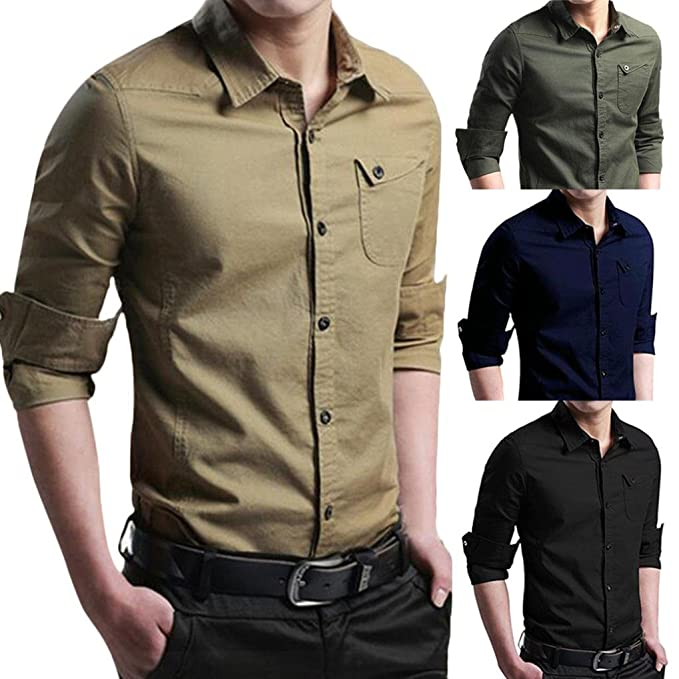 2cc462a710024 VEMOW Herren Herbst Casual Militär Cargo Slim Button Täglich Party Strand  Geschäft Training Dating Langarm Hem Shirt Top Bluse  Amazon.de  Bekleidung