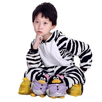 Ferrand Kigurumi Pijamas Unisexo Disfraz Animal Franela Para Niños Cebra XS