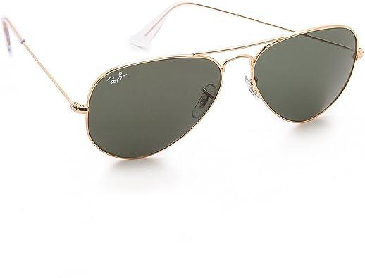 Ray-Ban Classic Aviator Sunglasses Arista Gold Crystal Green