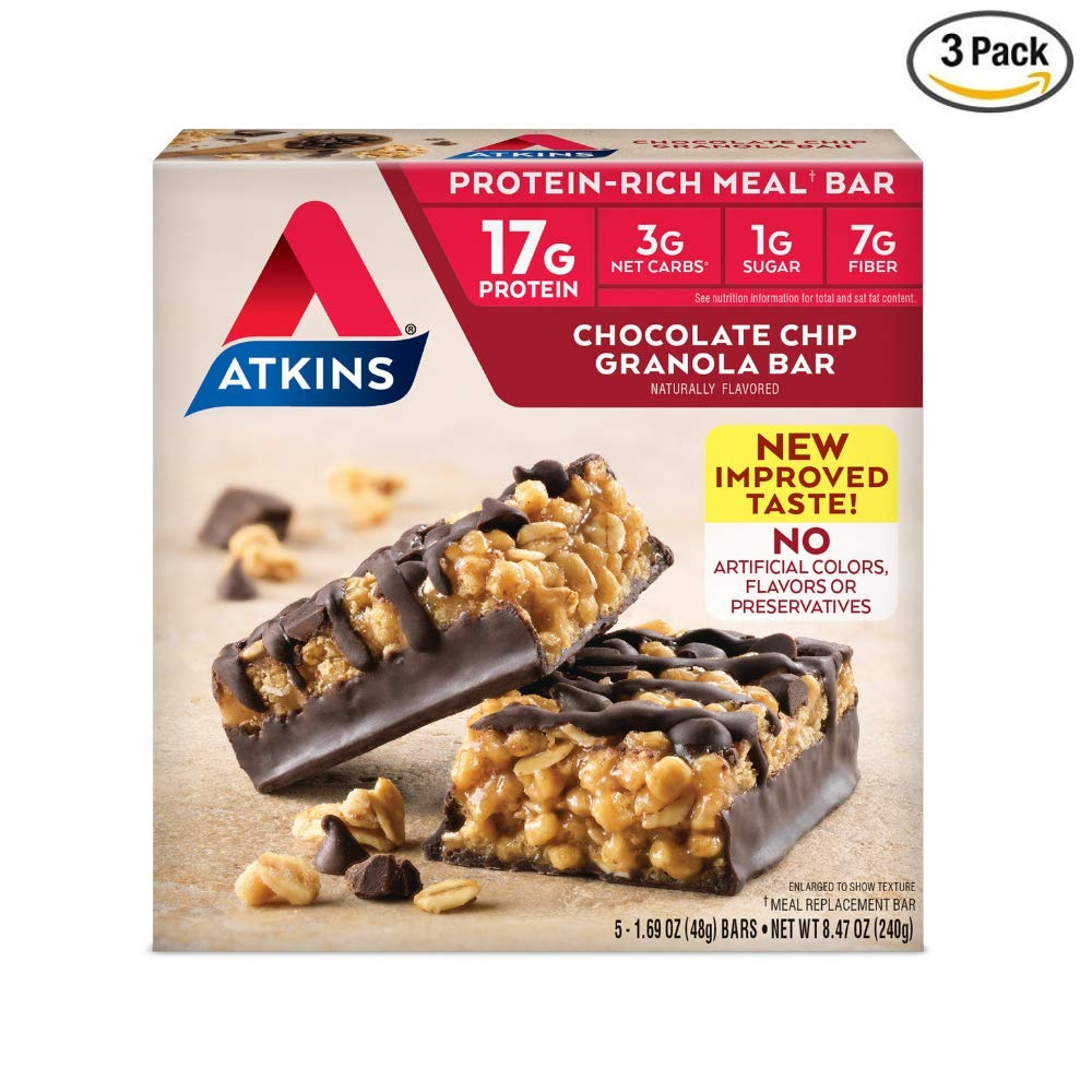 Atkins Protein-Rich Meal Bar, Chocolate Chip Granola, 5 Count each pack - 8.4 Ounce (Pack of 3)