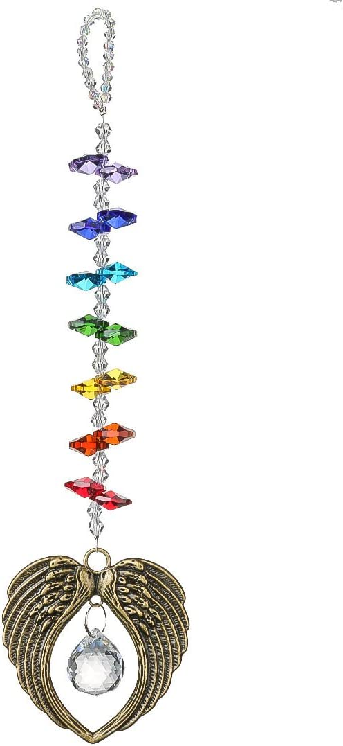 H&D HYALINE & DORA Crystal Angel Wing Pendant with 20mm Glass Ball Prism Rainbow Maker Collection