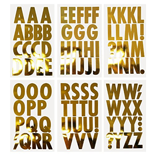 Homeford Big Font Alphabet Letter Stickers, Caps, 3-Inch, 26-Count (Metallic Gold) ()