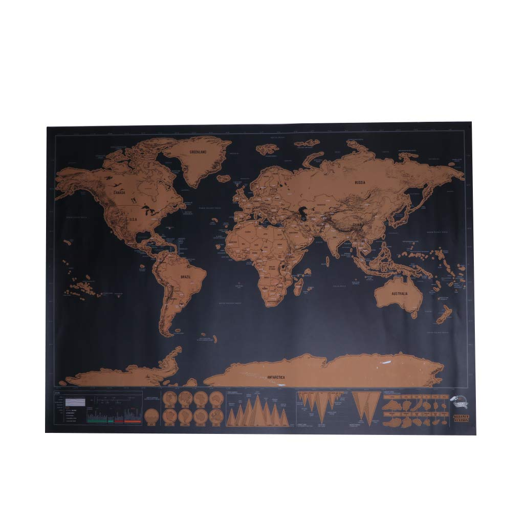 Kofun DIY Sticker Mural Amovible, Carte du Monde Travel Edition Carte à gratter de Luxe Affiche personnalisée Cadeau de Voyageur Carte du Monde Travel Edition Carte à gratter de Luxe Affiche personnalisée Cadeau de Voyageur