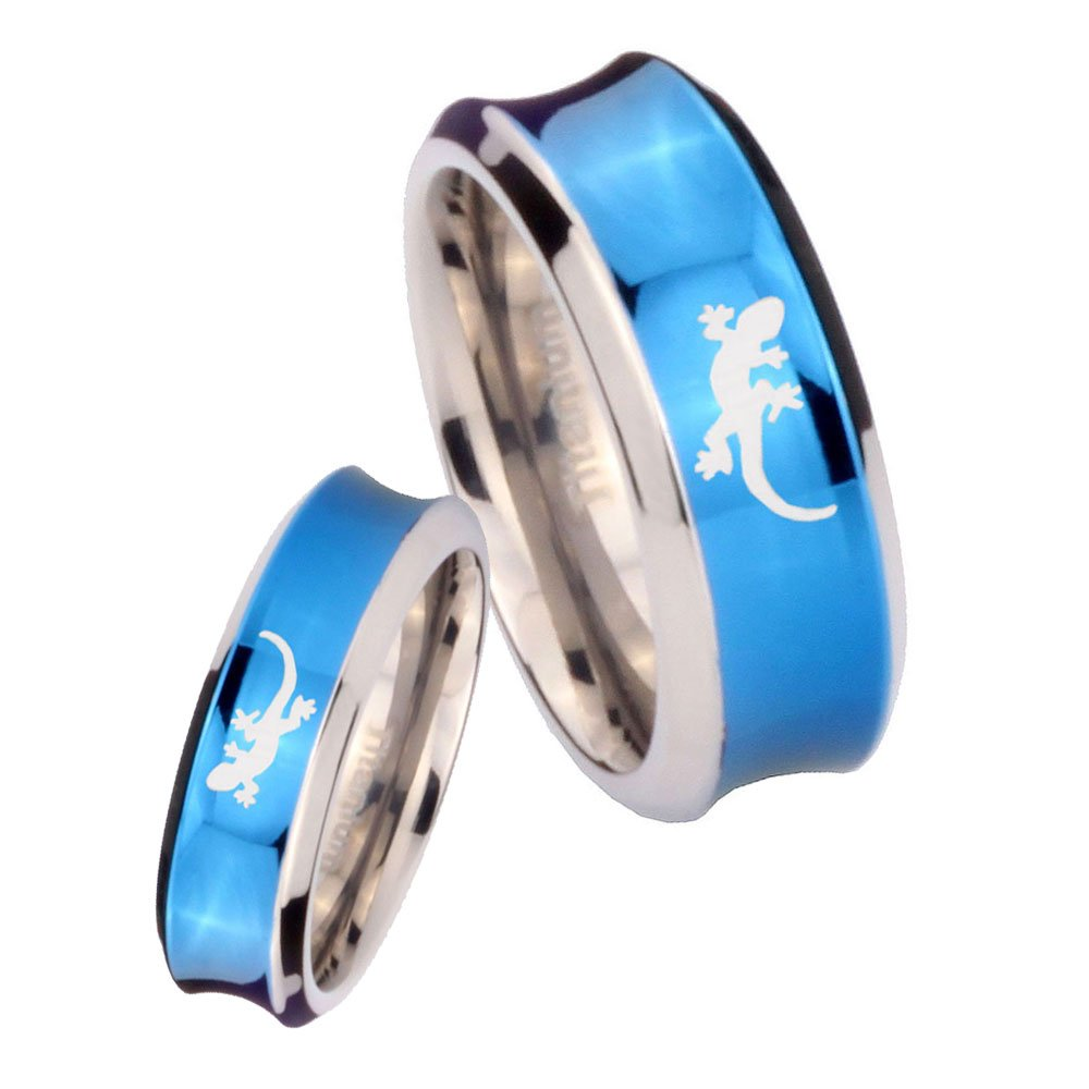 6MM, 8MM Size 4 to 13 Titanium Lizard design Dome Blue Concave Engraved Ring