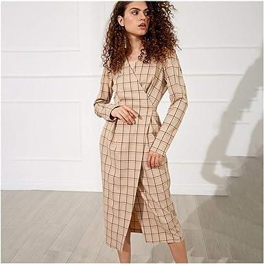 Qddan Women Casual Long Sleeve Dress V