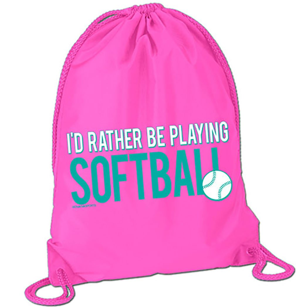I'd Rather Be Playing Softball Sport Pack Cinch Sack | Softball Bags by ChalkTalk SPORTS | Pink