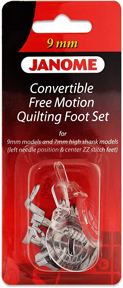 Convertible Free Motion Quilting Foot Set For Janome 9mm /& 7mm High Shank Models