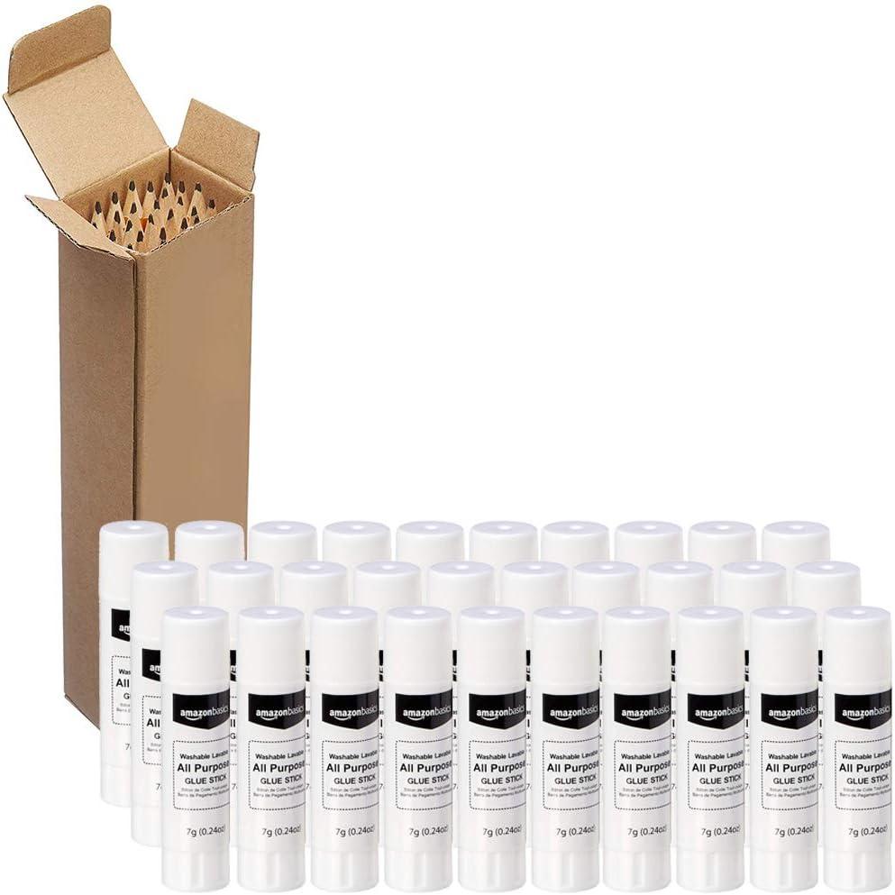 AmazonBasics All Purpose Bulk School Glue Sticks, Washable, 0.24-oz Stick, 30-Pack with AmazonBasics Pre-sharpened Wood Cased #2 HB Pencils, 30 Pack