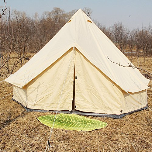Playdo Mesh Screen Wall Tent Waterproof Cotton Canvas Bell Tent Large Family Tent for Outdoor Camping Hunting Hiking Wedding Party (3M-9.8FT)