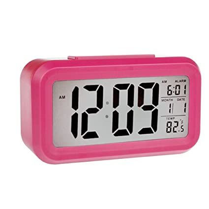 Smart Backlight Digital Alarm Clock-Battery Operated with Large LCD Display for Easy Reading Temperature Display Nightlight Function for Girls (Rose ...