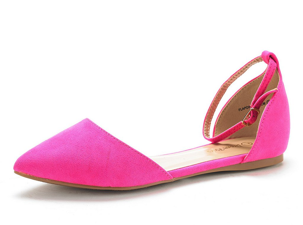 DREAM PAIRS Women's Flapointed-New Fuchsia D'Orsay Ballet Flats Shoes - 5.5 M US