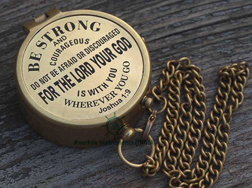 INDIA ROORKEE INSTRUMENTS A NAUTICAL REPRODUCTION HOUSE Joshua 1 9 Be Strong and Courageous Solid Brass Compass W//case//for Baptism//Confirmation//Birthday//Anniversary