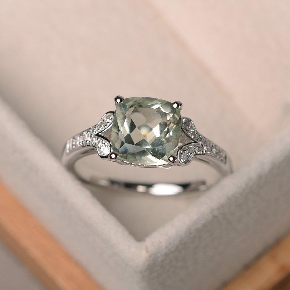 Green amethyst ring for women sterling silver cushion cut