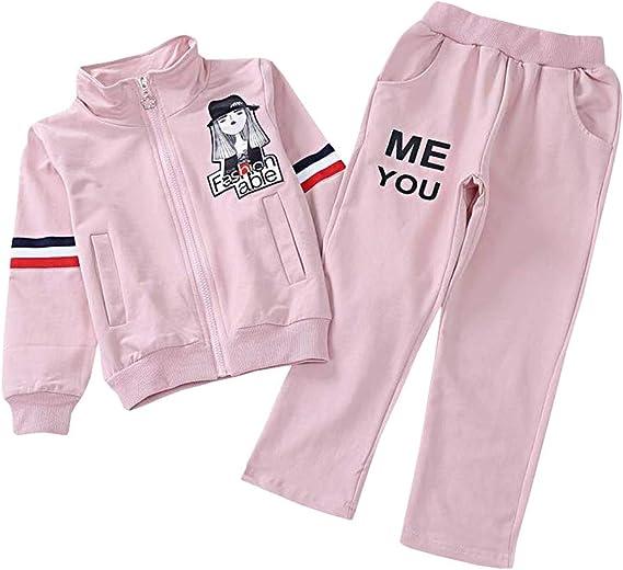 SXSHUN Ensemble de Sport Fille Sweater + Pantalon Enfant Survêtement Sport Tenue Vêtement de Jogging