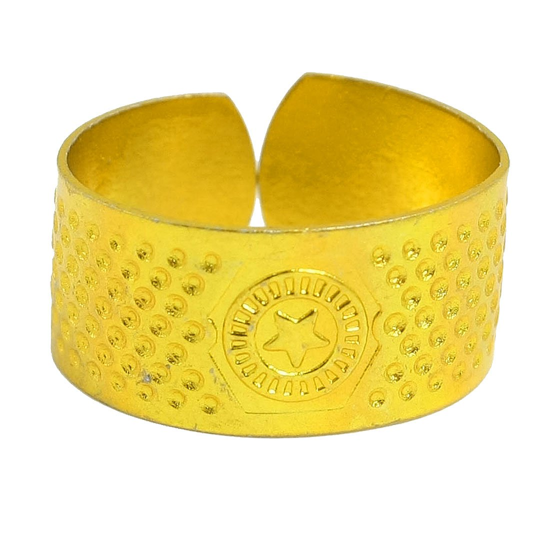 uxcell Star Pattern Metal Sewing Reeded Texturing Thimble Ring Gold Tone a12042600ux0257
