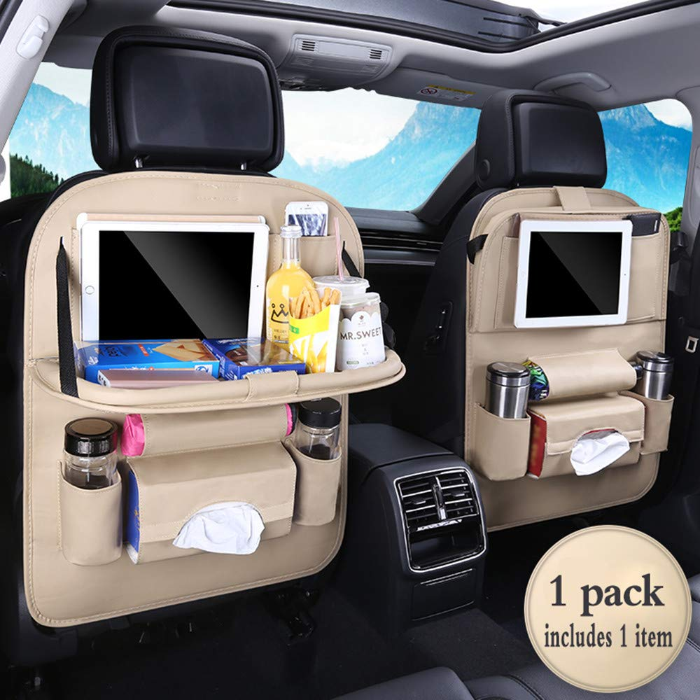 Jiadi Si Car Seat Protector + Backseat Organizer, Table Tray, Foldable Dining Table with iPad and Tablet Holder, Travel Accessories Organizer (1 Pack) by Jiadi Si