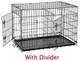 NEW 42″ Large Divider Folding Pet Dog Cage Crate Kennel Plastic Pan Review