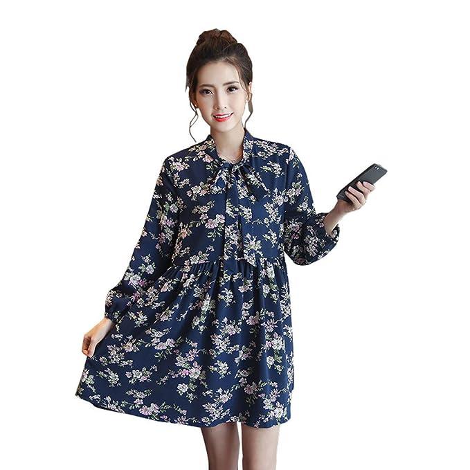 HZFF Resorte Chiffon Floral vestido falda de maternidad en la sección larga de mujeres embarazadas puede