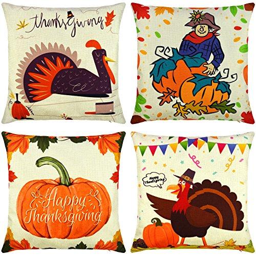 Elyhome 18x18 Thanksgiving Decorative Pillow Covers 4-Pack Cotton Linen Burlap Square Cushion Throw Pillow Covers Happy Turkey Day Farmer Harvest Pumpkins Autumn Leaves