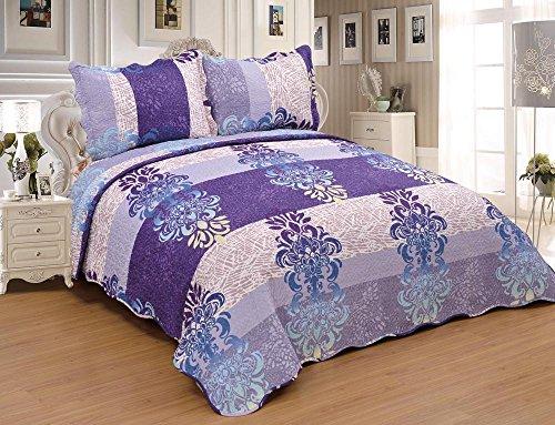 3pcs Floral Queen King Size Quilt Coverlet Ensemble Purple B