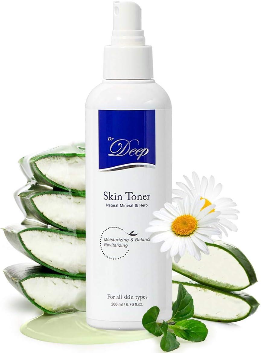 Dr.Deep Skin Toner(6.76 fl.oz) | Mineral Face Toner | Alcohol Free Toner for Face | Korean Toner Spray for Face | Aloe Vera Toner | Hydrating Toner | Toner for Sensitive skin | Face Toner for Dry Skin
