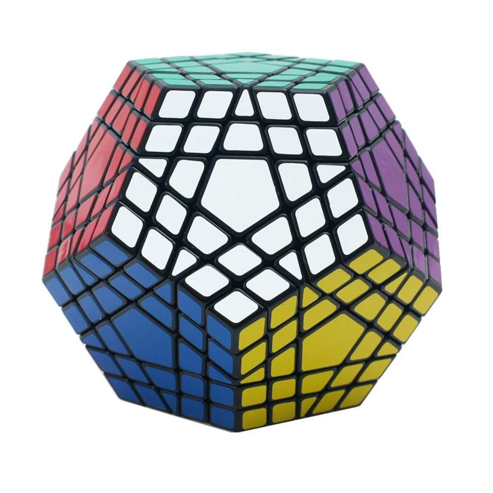 Black 5x5 MZStech Megaminx Magic Cube 4x4 Dodecahedron Puzzle Cube Toys for Kids (4x4, Black)