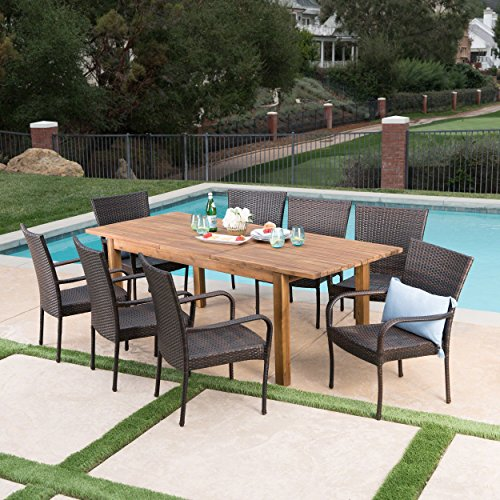 Great Deal Furniture Delilah Outdoor 9 Piece Multibrown Wicker Dining Set with Teak Finished Acacia Wood Expandable Dining (Expandable Teak Dining Table)