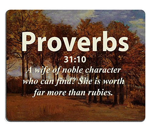 Bible Verses Quote Proverbs 31_10 A wife of noble character who can find She is worth far more than rubies MSD Customized Made to Order Cloth with Neoprene Rubber Mouse Pads