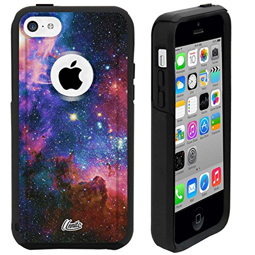 (Unnito iPhone 5C Case – Hybrid Commuter Case | Slim Cover with Hard Shell Design and Soft Inner Layer Compatible with iPhone 5C Black Case (Nebula Galaxy))