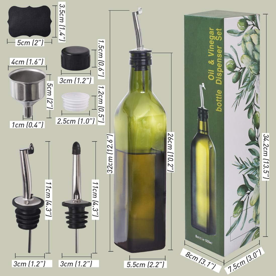 decantador vinagre dispensador de aceite de oliva embudo jarra para cocina verde Newk Botella de aceite de oliva de 500 ml para copas de aceite y vinagre con vertedores