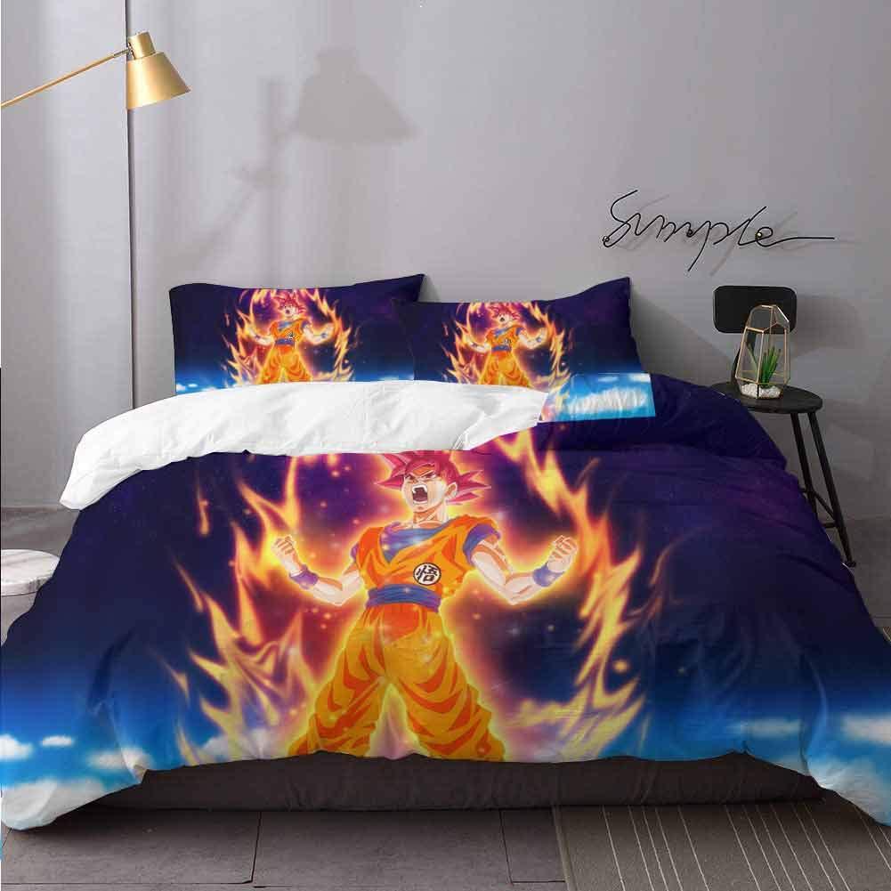 WomHouse 3Pc Duvet Cover Set Dragon Ball Z Goku R 1 Duvet Cover and 2 Pillow Cases Bedding 3 Piece Duvet Cover Set Full