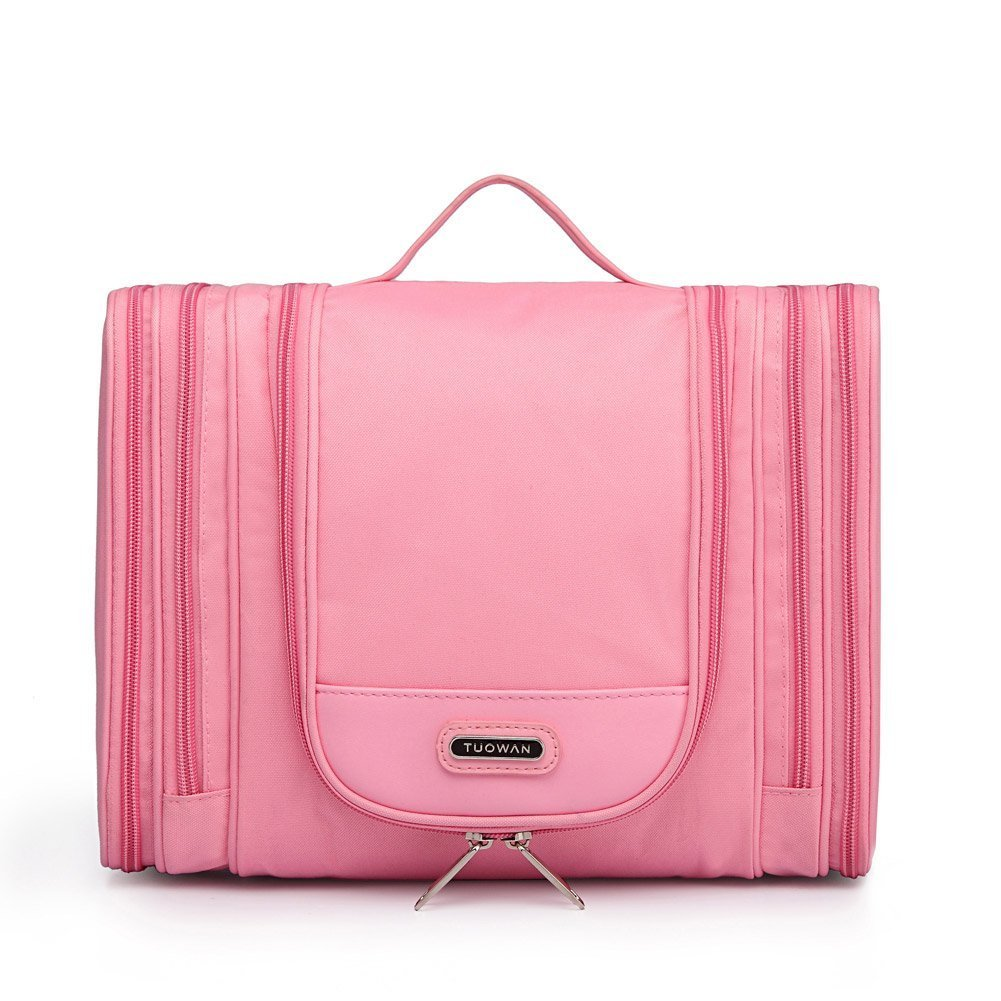 568d0898d3 Hanging Toiletry Bag Portable Travel Camping Organizer Waterproof Cosmetic  Makeup Shaving Bag Toiletry Kit for Men   Women with Sturdy Hook (01 Pink)