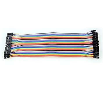 Image result for 2.54mm Pitch 40 Pin 40 Way F/F Connector Rainbow Ribbon Jumper Cable