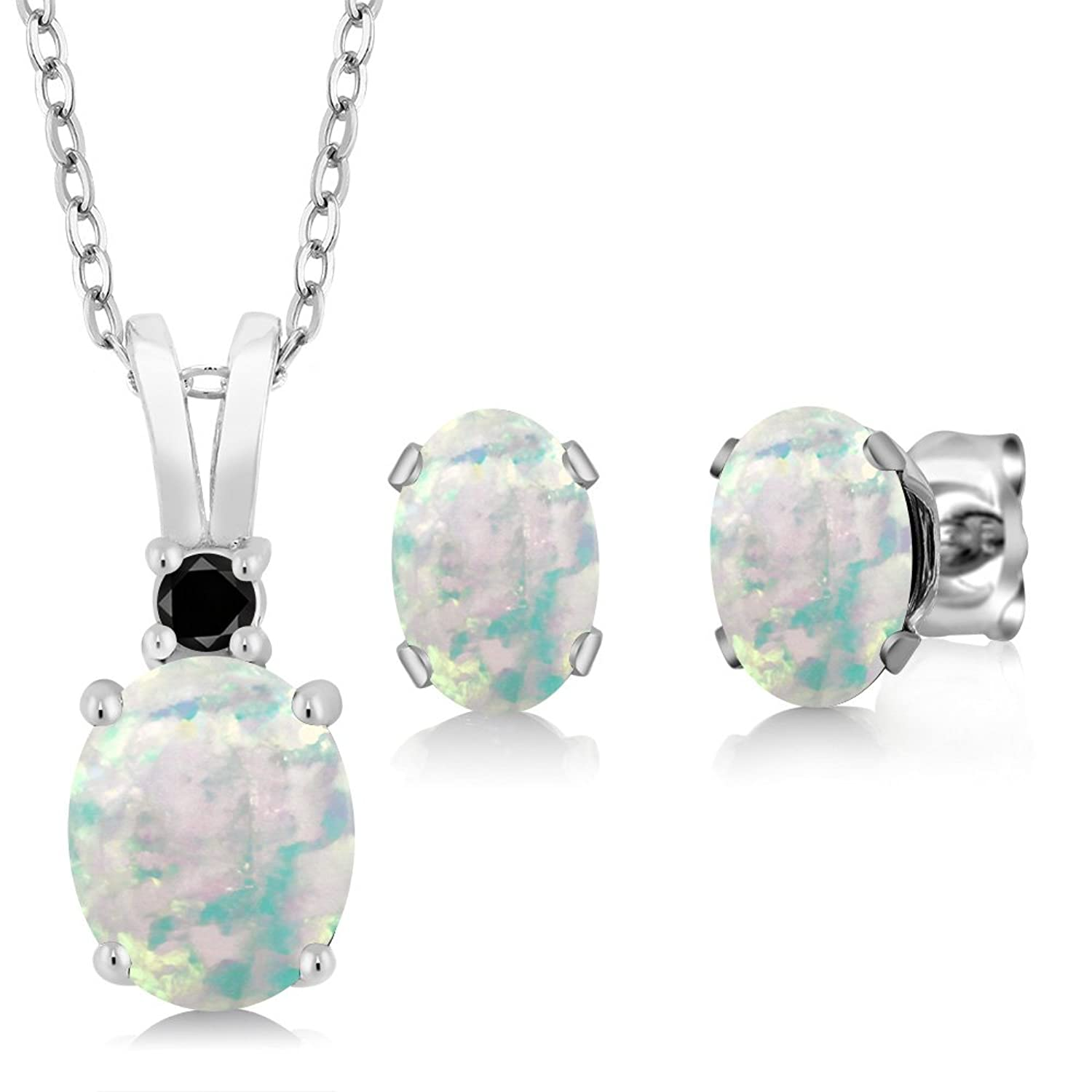 2.38 Ct Oval Cabochon White Simulated Opal 925 Sterling Silver Pendant Earrings Set