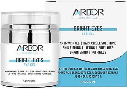 Bright Eyes - Eye Cream for Dark Circles, Puffiness, Wrinkles, Skin Firming & Lift Skin Under Eyes-75% ORGANIC Ingredients, With Hyaluronic Acid, Amino Acid Blend, Jojoba Oil, Peptides Complex