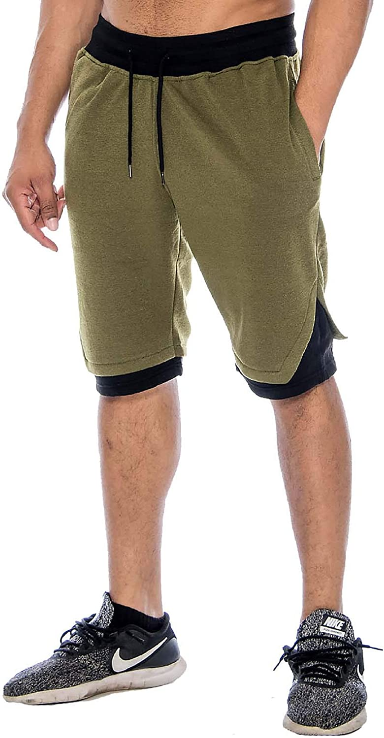 9 Crowns Men's Casual Gym Basketball Sweat Shorts
