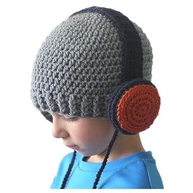 Freesiom Bonnet Echarpe Set Hiver Ecouteur Casque Unisexe Bebe Enfant Garcon  Fille Mignon Kawaii Chaud Tricote a0fbe78825f
