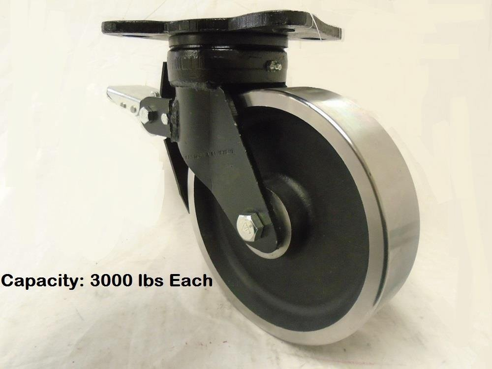 8'' x 2'' Kingpinless Forged Swivel Caster with Total Lock Brake Drop Forged Steel Wheel 3000 lbs. Each
