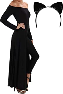 product image for Funfash Halloween Costume Black Cape Catwoman Jumper Pants Cat Ears Headband