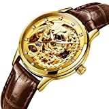 PASOY Womens Automatic Mechanical Watches Phoenix Dila Gold Brown Leather Band Waterproof Skeleton Watch