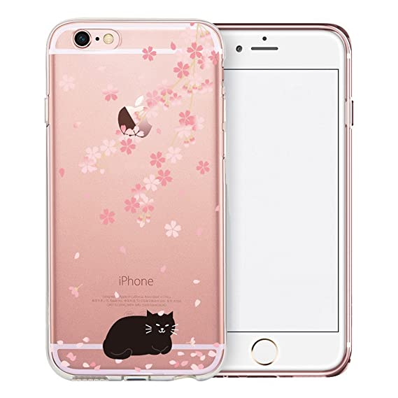 quality design e96e8 0955c iPhone 6S Case, SwiftBox Cute Cartoon Clear Case for iPhone 6 6S (Cherry  Blossom and Black Cat)