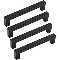 LJJT 4 stks Rvs Moderne Zwarte Kast Handvat Vierkante Meubels Hardware Keuken Deur Knoppen Kast Garderobe Lade Trekt…